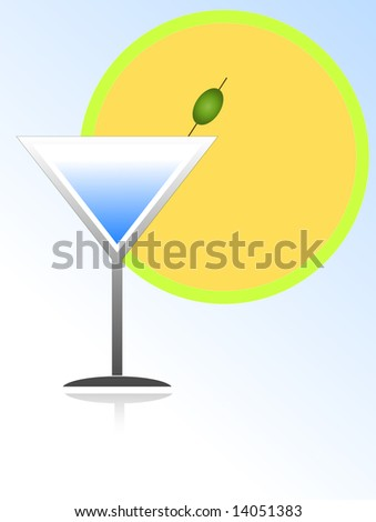 Vector illustration of cocktail glass with green olive