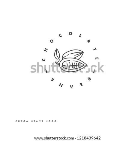 Vector illustration of cocoa beans. Linear style icon. Chocolate cocoa beans logo