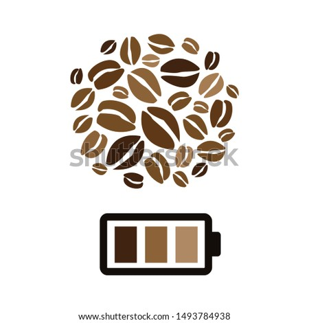 vector illustration of coffee beans and charged battery for caffeine power visuals