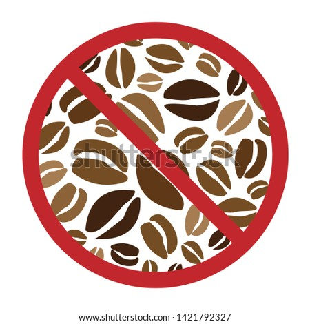 vector illustration of coffee beans with restriction sign for caffeine free and decaffeinated drinks concept