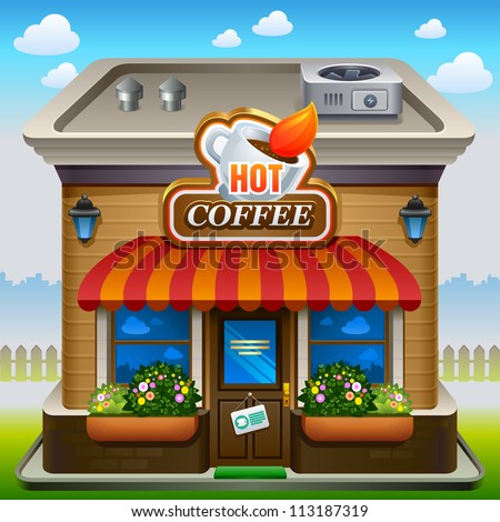 Vector illustration of coffee shop icon