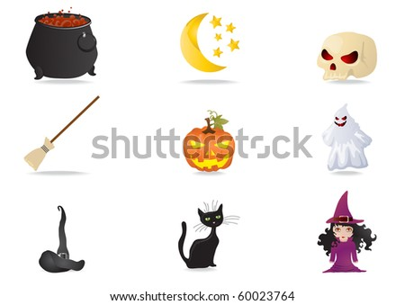 Vector illustration of collection halloween stickers