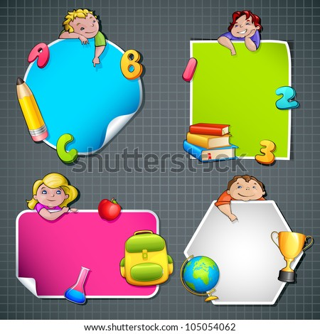 vector illustration of collection of back to school template with kids and object