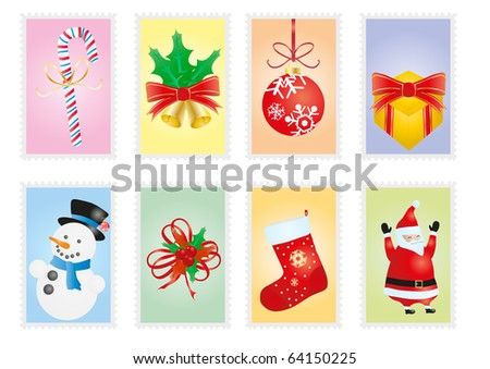 Vector illustration of collection of Christmas postage stamps