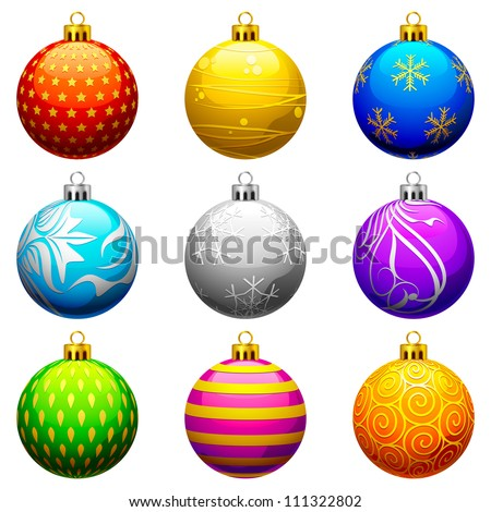vector illustration of collection of colorful Christmas bauble