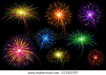 vector illustration of collection of colorful firework