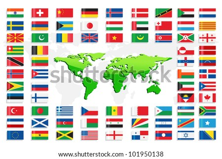 vector illustration of collection of different country flag with world map