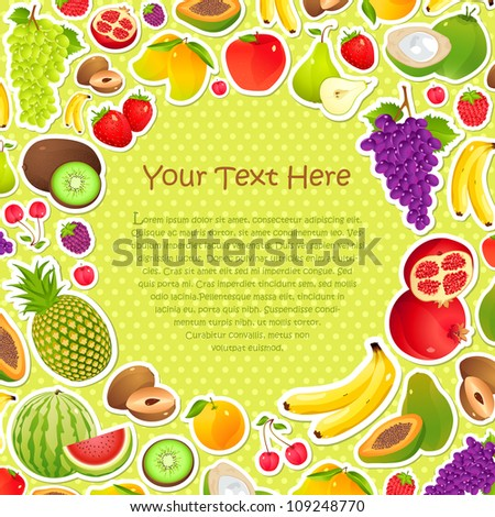 vector illustration of collection of fruit in pattern background - stock vector
