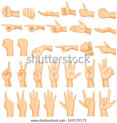 Shutterstock vector illustration of collection of hand gestures