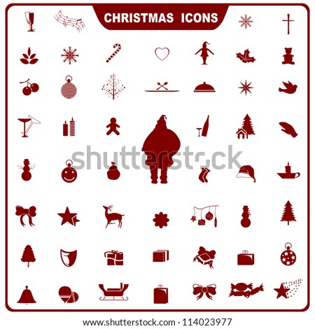 vector illustration of collection of plain icon for Christmas