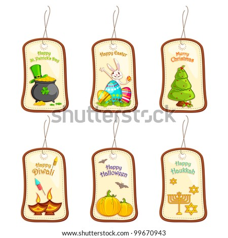 vector illustration of collection of selling label tag for different festival