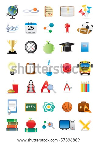 Vector illustration of collection of several educational icons