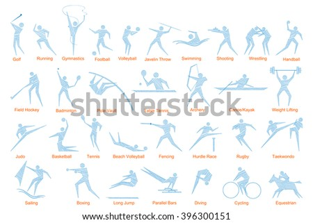 vector illustration of collection of sports icon