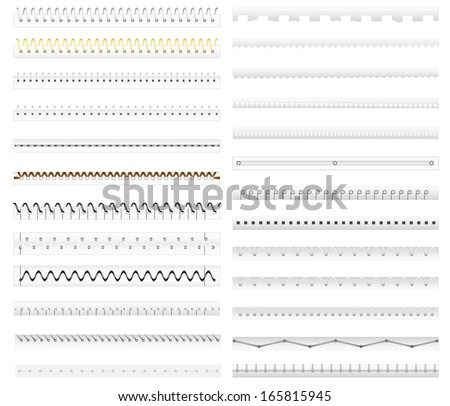 vector illustration of collection of stitch, spiral binding and divider of paper