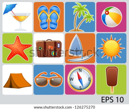 vector illustration of collection of vacation icons