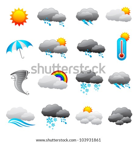 vector illustration of collection of weather forecast icon
