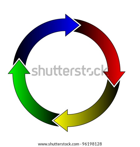 Vector illustration of color arrows in the circle