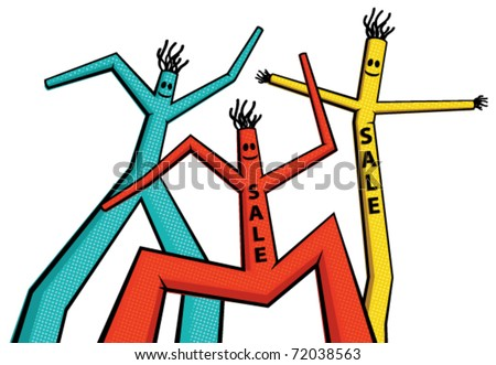 Vector illustration of color dancing men