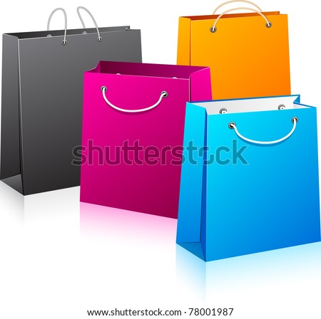 Vector illustration of  color shopping bags. No transparency. Eps8 Only.
