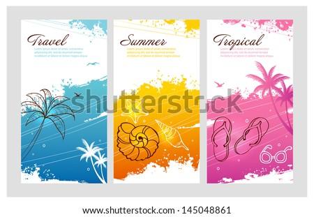 Vector illustration of Color summer set with splash