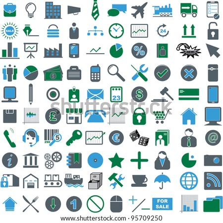 Vector illustration of colored business icons.