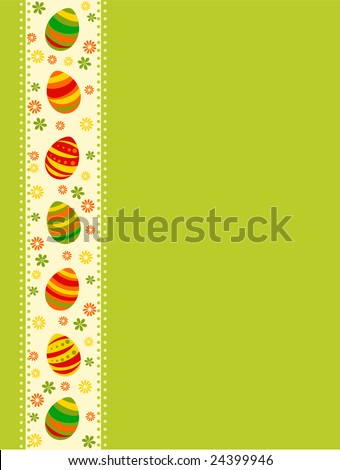 Vector illustration of colored Easter eggs over green background
