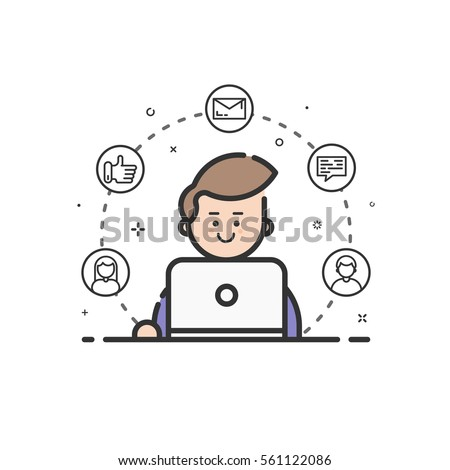 Vector illustration of colored icon in flat line style. Linear cute and happy man with laptop. Graphic design concept of social networking in Web Project and Applications Outline isolated object.