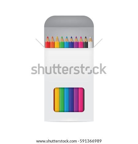 Vector Illustration of Colored Pencils Box
