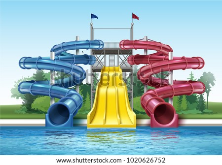 Vector illustration of colored plastic water slides with pool in outdoor aqua park. Isolated, front view - Shutterstock ID 1020626752