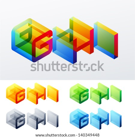 Vector illustration of colored text in isometric view. Cube-styled monospace characters. letters G H I