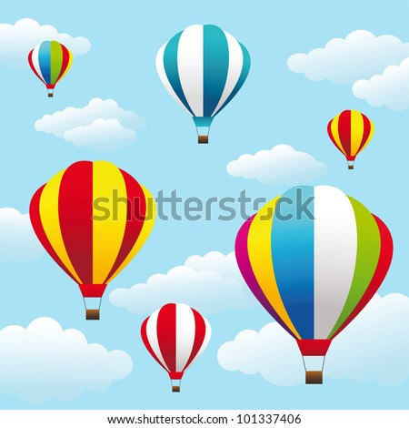Vector illustration of colorful air balloons on the blue sky