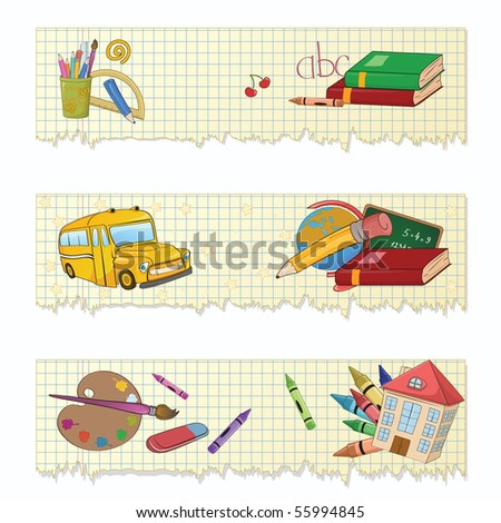 Vector illustration of Colorful Back to school banners or stickers set