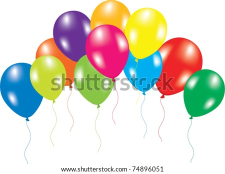 vector illustration of colorful balloons on white background