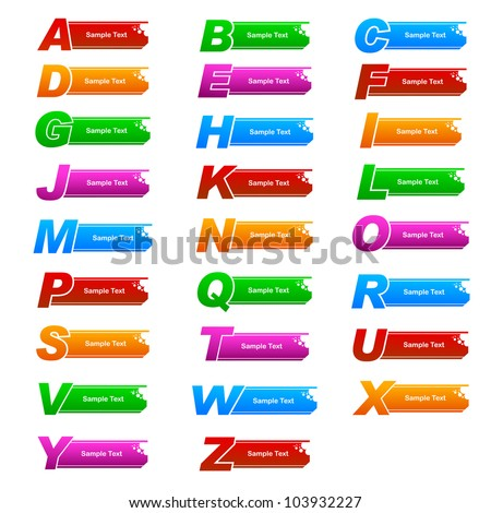 vector illustration of colorful banner with different alphabet