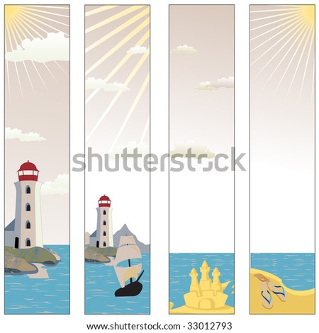 Vector illustration of Colorful banners set with  lighthouse on a beach with boat and reflective sea water