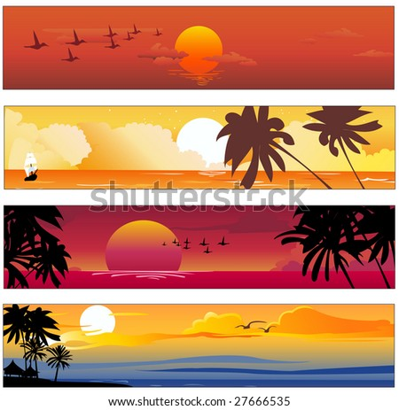 Vector illustration of Colorful banners set with tropical summer designs