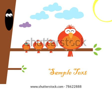 Vector illustration of colorful birds