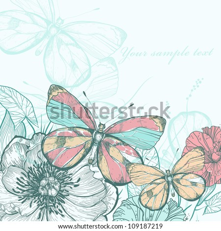 vector illustration of colorful butterflies and flowers in a vintage style