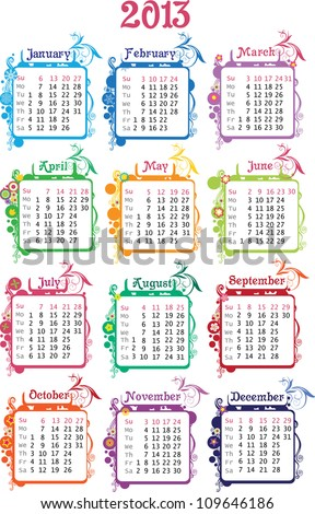 Vector illustration of colorful calendar 2013 (week starts with sunday)