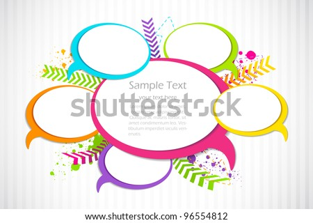 vector illustration of colorful chat bubble against abstract background