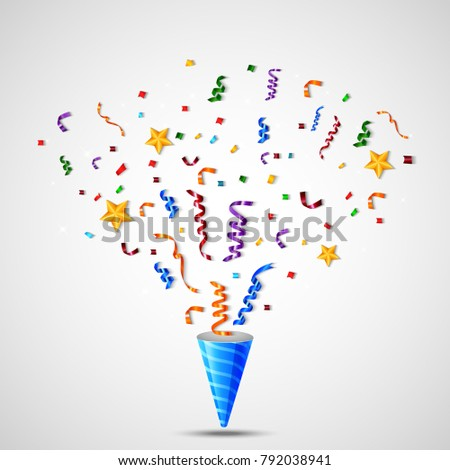 Vector Illustration Of Colorful Confetti On White Background #792038941