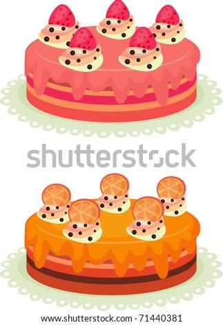 Vector illustration of colorful cream cake. - stock vector