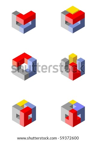 Vector illustration of colorful 3d cubical design elements made with blocks