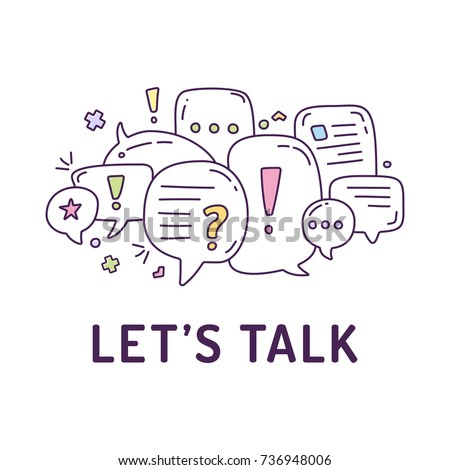 Vector illustration of colorful dialog speech bubbles with icons and text let's talk on white background. Safety communication technology concept. Thin line art flat design of mobile technology