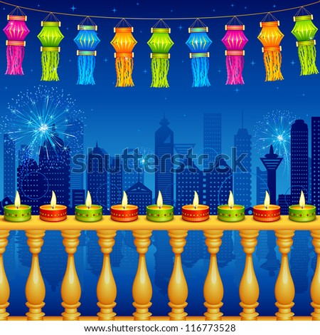 vector illustration of colorful diwali hanging lantern with firework