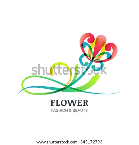 Vector illustration of colorful exotic flower. Abstract creative orchid logo sign. Trendy design concept for beauty salon, spa, natural organic cosmetics, makeup, visage, accessories, organic product.