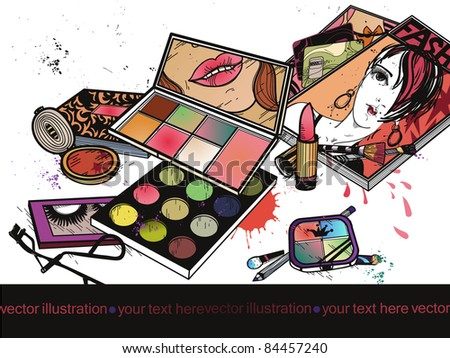 vector illustration of colorful eyeshadow, eyeliners and make up and fashion magazines