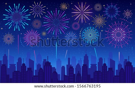 Vector illustration of colorful festive fireworks in dark evening sky. Celebration background for winter holiday, Xmas, New Year,  Independence day, carnival, birthday. Glowing light over the city.