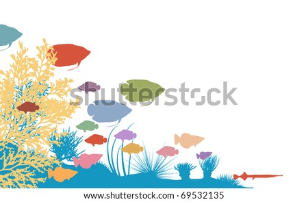 Vector illustration of colorful fish and coral silhouettes
