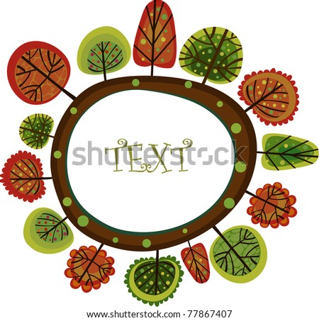 Vector illustration of colorful forest. - stock vector